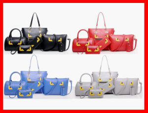 2016 Elegant Female Big Bags Women′s PU Leather Handbag 6 PCS/Set