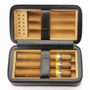 Leather Cedar Wood Lined Portable Cigar Travel Case Humidor 6 Count (Black) pictures & photos