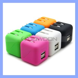 Colour Folding Dual USB 2.1A Wall Charger for iPhone 7 6 6plus Cube Charger Block pictures & photos