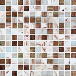 White and Brown Golden Line Melting Glass Mosaic (H420003) pictures & photos