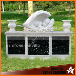 Baby Angel in White Carrara Marble Black Granite Base pictures & photos