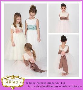 New Elegant Scoop Sash Tulle Sleeveless Sweep Train Cinderella Flower Girl Dresses Yj0130