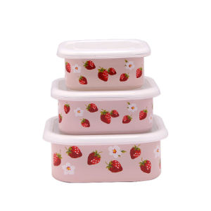 (LONGFEI) 2014 Stylish 3PCS Square Shape Enamel New Decal Food Storage Bowl Set pictures & photos