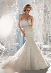 Beaded Embroidery on Elegant Lace Mermaid Bridal Wedding Dresses (WMA3044) pictures & photos