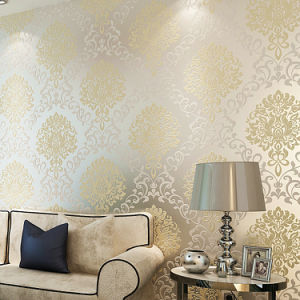 Marvelous 10m Textured Glitter Metallic Damask Flocking Non Woven Fabrics Wallpaper  Bedroom TV