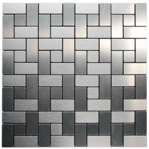 Mosaic Wiredrawing Silver Metallic Wall Tiles Sticker DIY Kitchen Backsplash Interior Home Decoration
