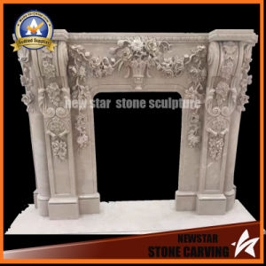 Fireplace Surround with Flowers Stone Fireplace Mantel pictures & photos