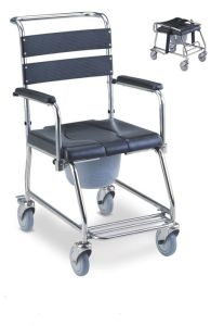 S. S Commode Wheelchair with Foldable Footrest (SC-CW06(SS)) pictures & photos
