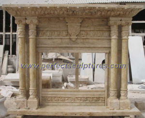 Carving Marble Fireplace for Outdoor Stone Fireplace Mantel (QY-LS286) pictures & photos