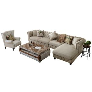 Living Room Leisure Chaise Lounge Fabric Sofa (F722) pictures & photos