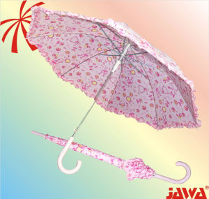23 Inch Lace Edge Straight Auto Umbrella