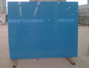Blue Color Painted Glass/ Blue Colored Silk Screen Painting Glass pictures & photos