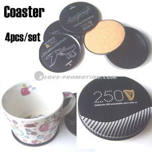 Cork Coaster / Cork Cup Mat in Tin Box - 1