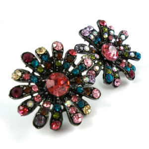 Colorful Glass Stone Fashion Metal Flower Jewelry Earring