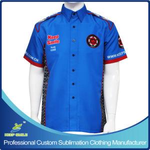 Custom Full Sublimation Premium Men′s Pit Crew Racing Shirt pictures & photos