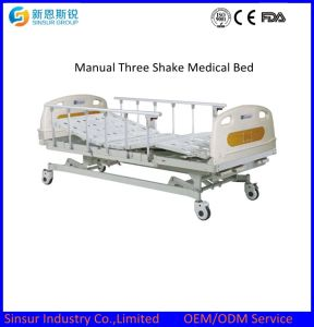 Hospital Furniture Manual 3-Shake/Crank Medical Nursing Beds pictures & photos