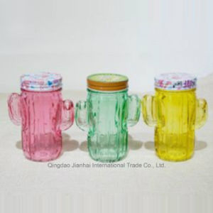 Colored Cactus Glass Mason Jar with Two Handles pictures & photos