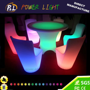 Lounge Furniture PE Material Plastic Colorful LED Dining Chair pictures & photos