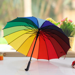 Colorful Automatic 16 Ribs Rainbow Golf Umbrella Sy004