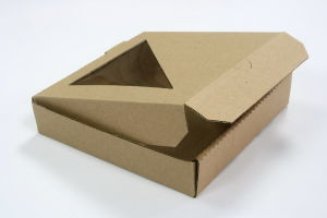 Brown Color Corrugated Paper Cardbaord Pizza Boxes with Clear Window pictures & photos