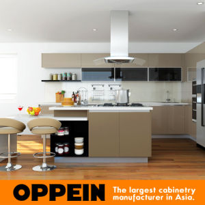 Modern High Gloss Lacquer Wooden Kitchen Cabinet with Island (OP16-L16) pictures & photos