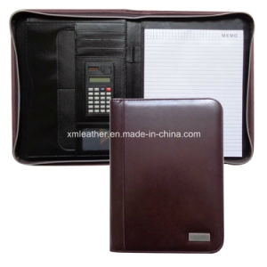 Office Products Brown PU Conference Folders with Metal Plate pictures & photos
