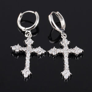 Quality Zircon Gold-Plated Mosaic Cross Silvre Earrings