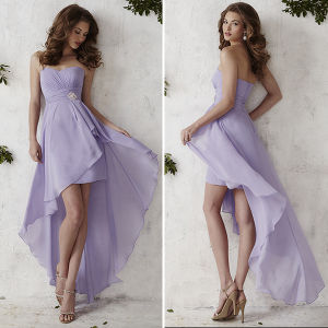 Light Purple Sash Chiffon Short Bridesmaid Dresses (TM-BD019)