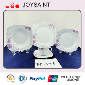 OEM Quality Square Shape 18PCS Dinner Set Dinner Cup with Porcelain Ceramic pictures & photos