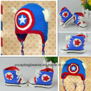 Baby′s Handmade Knitted Captain America Hat and Soft Sports Shoes pictures & photos