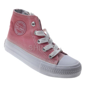 Washed Canvas High Top Vulcanized Shoe for Children pictures & photos