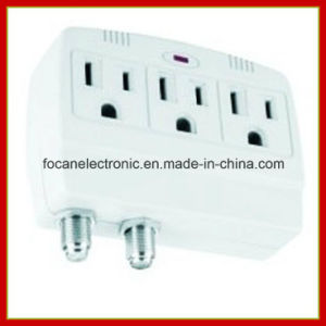 3 Outlets Surge Protected Current Tap with Coaxial Protection pictures & photos