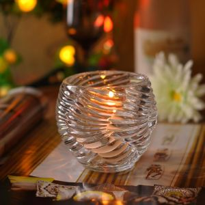 Luxury Thread Pattern Glass Candle Holder pictures & photos