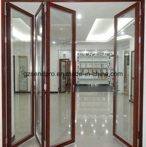 Entrance Double Glass Aluminum Frame Folding Door