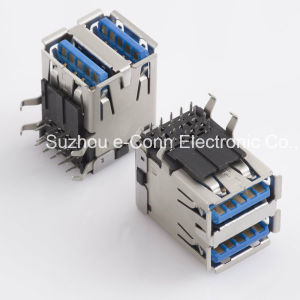 USB I/O Receptacle Right Angle Dual Layer Usbx-18fx-Xxr0-06 pictures & photos