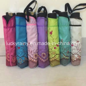 Three Folding Manual Open Umbrella Pongee Fabric with Lace