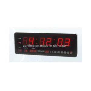 LED Digital Wall Calendar Clock with Temperature Display pictures & photos
