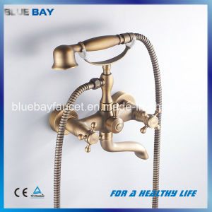 Wenzhou Artistic Wall-Mounted Double Handle Brass Bath Shower Faucet with Telephone Hand Shower pictures & photos