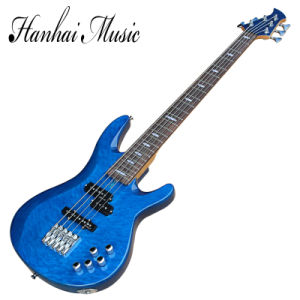 Hanhai Music / 5 Strings Blue Electric Bass Guitar with Cloud Patterns Veneer pictures & photos