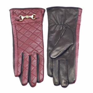 Lady Checked Pattern Sheepskin Leather Fashion Driving Gloves (YKY5212-1) pictures & photos