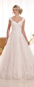 Cap Sleeves Bridal Gowns Lace Tulle Wedding Gown D1919 pictures & photos