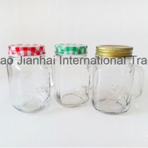 350ml Cock Embossed Ice Tea Juice Glass Mason Cup pictures & photos
