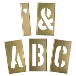 Brass Interlocking Letters Stencil for Clear Signs (1F047)