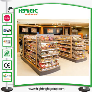 Supermarket Wood and Metal Wire Rack Adjustable Shelves Bread Display pictures & photos