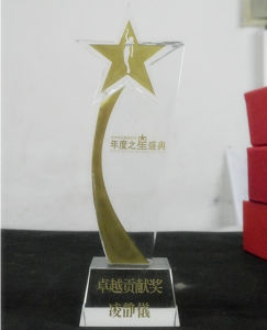 Cheap Newest Style Five Star Crystal Trophy Glass Award pictures & photos