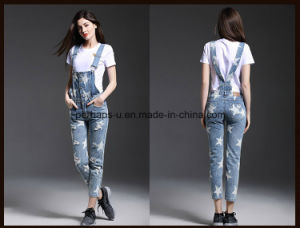 High Quality Classic Printing Denim Ladies Jeans Overall Women Pants pictures & photos