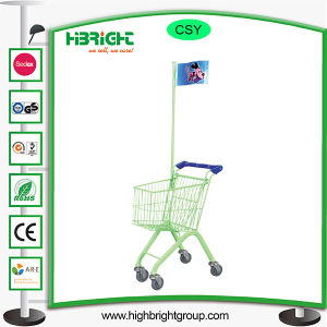 Colorful Supermarket Kids Shopping Trolley Cart with Toy Car pictures & photos