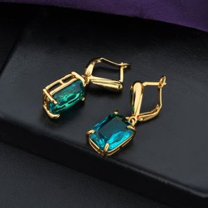 18K Gp Blue Square Zircon Fashion Jewelry Dangle Earring pictures & photos