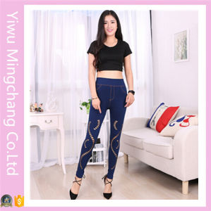 2016 Latest Designed Wholesale High Quality Denim Hole Net Stretch Legging pictures & photos
