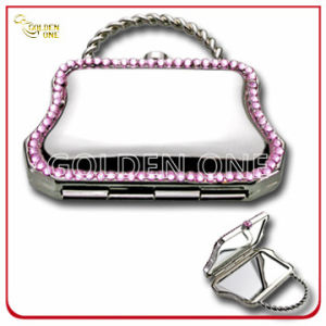 Creative Hang Bag Shape Crystal Stone Chrome Makeup Mirror pictures & photos